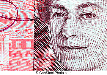 Close Up of Queen Elizabeth II on a Fifty Pond Note - Macro...