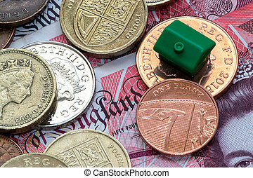 Green Plastic Model House and English Coins and Notes -...