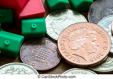 Plastic Model Houses and English Coins - Imitation model red...