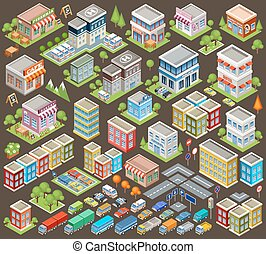 Big isometric set of buildings and houses