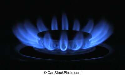 Gas Burner On Stove.