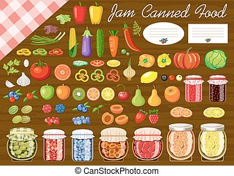 Set of fruit and vegetables for jam and canned food Label...