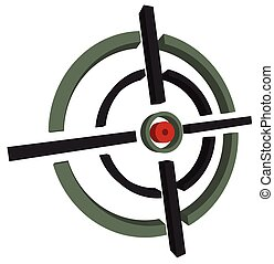 3d cross-hair, reticle, target mark on white Editable