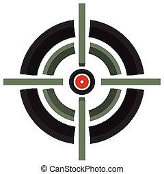 3d cross-hair, reticle, target mark on white Editable