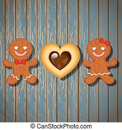 loving couple of gingerbread cookies and chocolate heart...