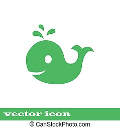 whale, green vector icon. eps 10
