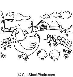 Chicken Coloring Pages vector - image of Chicken Coloring...