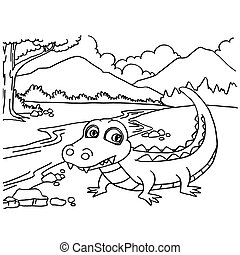Crocodile coloring pages vector - image of Crocodile...