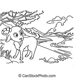 Goat Coloring Pages vector - image of Goat Coloring Pages...