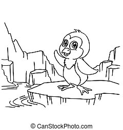 Penguins Coloring Pages vector - image of Penguins Coloring...
