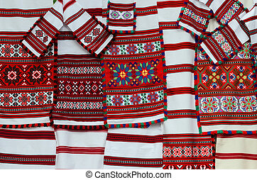 Belorussian woven towels with multicolored geometric pattern...