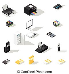 Office detailed isometric icon set - Office detailed...