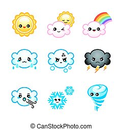 Cute weather icons - Cute Japanese weather icons with...