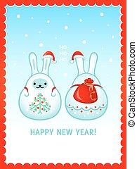 Snow rabbits Christmas card - Snow rabbits with Santa sack...