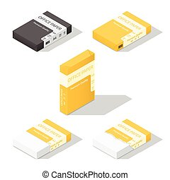 Paper for copier isometric icon set vector graphic...