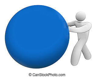 Man Person Pushing Rolling Blue Ball Sphere Blank Copy Space