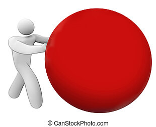 Man Person Pushing Rolling Red Ball Sphere Blank Copy Space