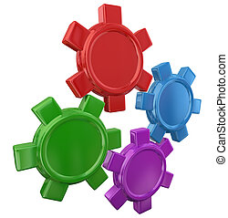 Four Colorful Gears Turning Working Together Blank Copy Space Your Message
