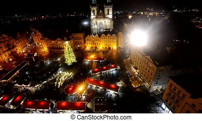 Prague Old Town main square at night