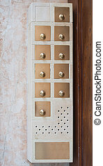 Entryphone, close up view - Entryphone on marble wall, close...