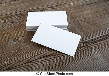 blank business cards - Photo of blank business cards with...