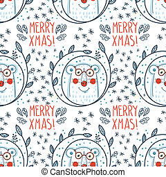Christmas pattern with polar bears. - Christmas pattern with...
