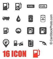 Vector grey gas station icon set