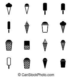 Vector black ice cream icon set
