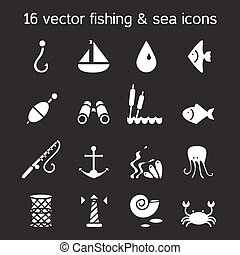 Isolated marine and fishing icons set Vector