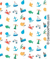 Isolated marine and fishing seamless pattern Vector