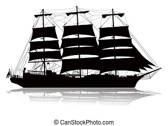 Sailing Ship Silhouette - Detailed sailing ship with lower...