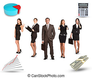 Group of business people with cash