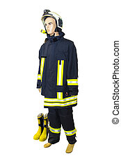 Fire Fighter - Isolated Fire Fighting Gear With Display...