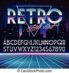 Shiny Chrome Alphabet in 80s Retro Futurism style Vector...
