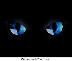 Vector Cat Eyes - Vector Illustration of Blue Cat Eyes in...