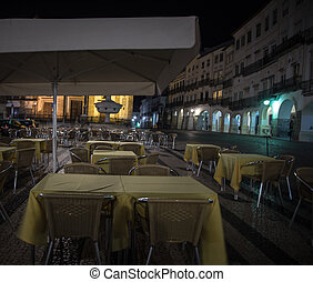 Outdoor Cafe at night - Outdoor cafe at a square in portugal...