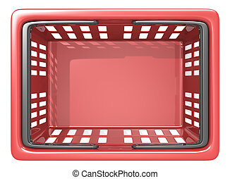 Shopping Basket. - Top view of an empty Red Shopping Basket....