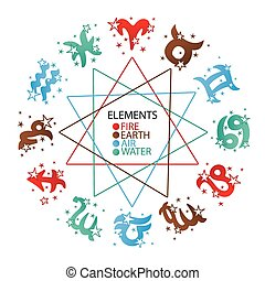 Horoscope symbol of four elements.Zodiac sign - Horoscope...