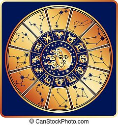 Horoscope circle.Zodiac sign with constellations,moon,sun -...