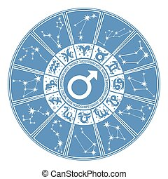 Horoscope circle for man.Zodiac sign,gender,character -...