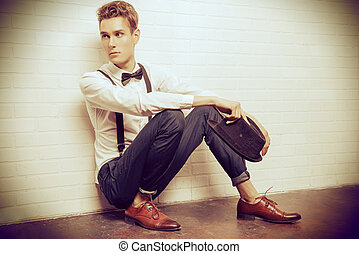 retro dandy - Full length portrait of a handsome young man...