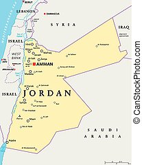 Jordan Political Map - Jordan political map with capital...