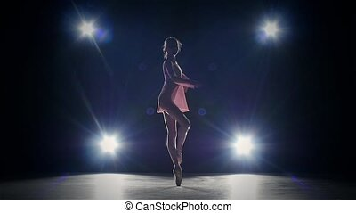 ballet dancer isolated on black background. silhouette. slow...