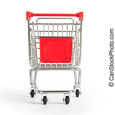 Shopping cart on white, front view