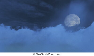 Big full moon obscured by clouds - Nighttime sky with big...
