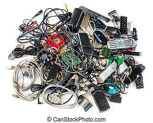 Old Computer Cables and Devices on White Background - Pile...