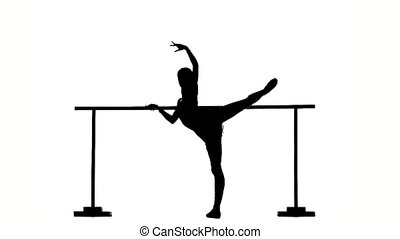 flexible Ballerina posing on ballet barre silhouette slow...
