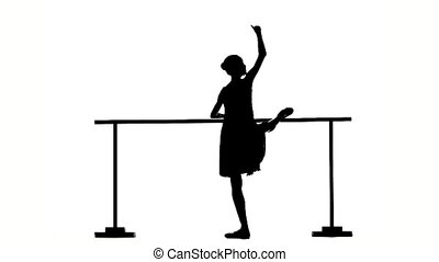 Beautiful ballerina girl dancer near barre silhouette slow...