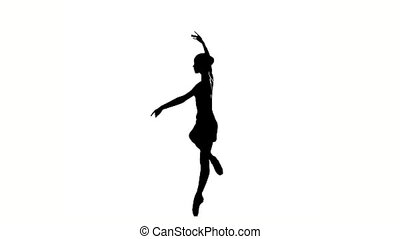 expressive girl dancer on dance Hall near barre silhouette...