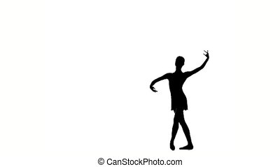 balet dancer isolated on white. silhouette. slow motion